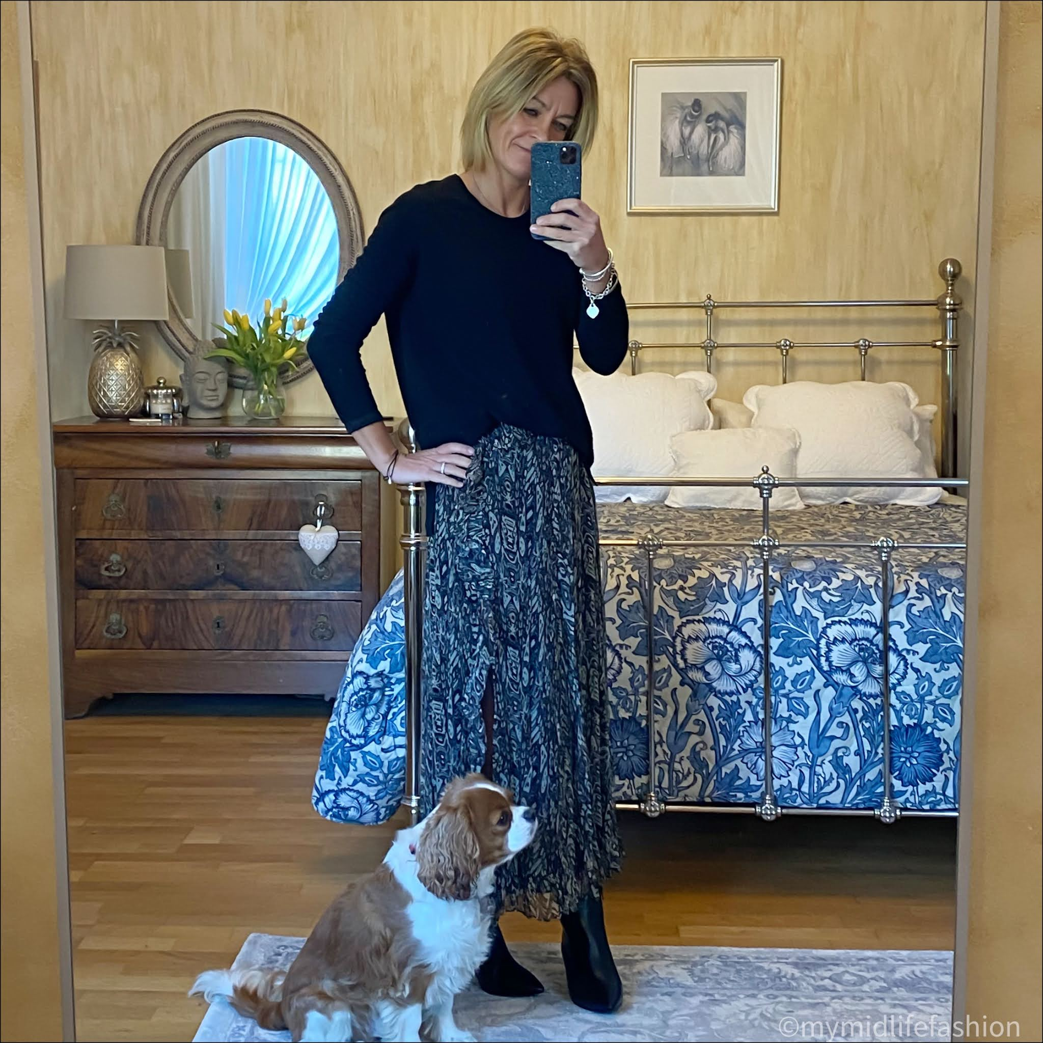 my midlife fashion, hush boyfriend cashmere jumper, iro Paris maxi skirt, sole bliss Brooke black leather ankle boot