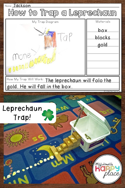 Photos of a student planning sheet for a leprechaun trap and a trap made out of a bun, blocks, and paper coins