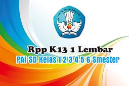 Download Rpp K13 1 Lembar PAI SD Kelas 1 2 3 4 5 6 Smester 1 Tahun  Pelajaran 2020 2021