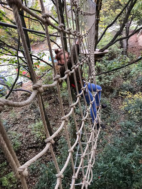 Go Ape at Temple Newsham Leeds - climbing a suspended net