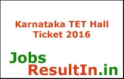 Karnataka TET Hall Ticket 2016