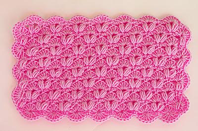 6 - Crochet IMAGEN Punto de abanico combinado con punto puff