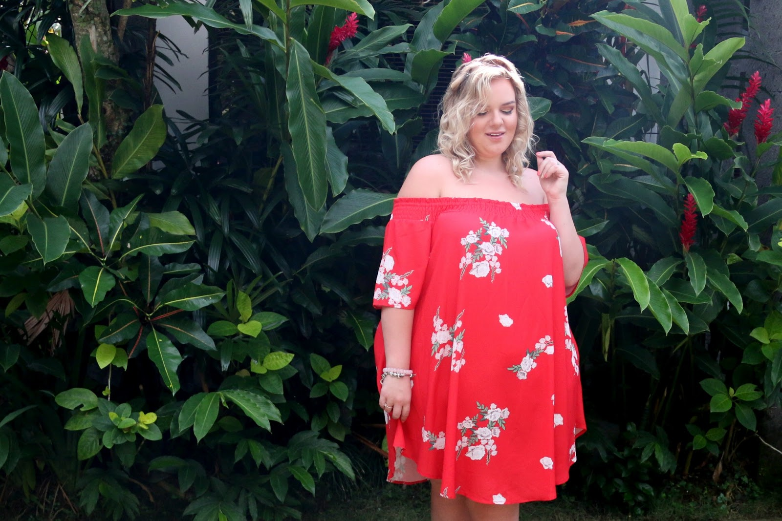 Binky Felstead Red Floral Bardot Dress From In The Style Curve Review