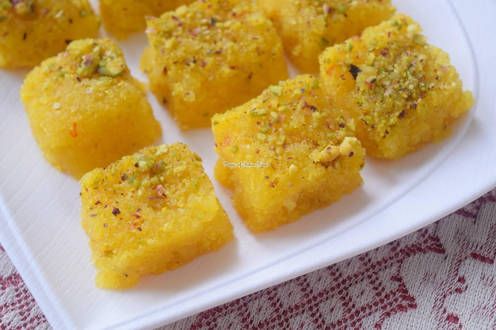 Fresh Coconut Kesar Barfi Recipe - Kesar Mawa Kopra Pak  - ताजा नारियल केसर बर्फी रेसिपी - Priya R - Magic of Indian Rasoi
