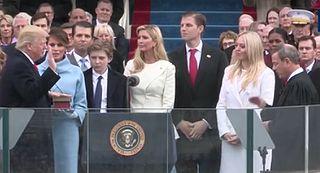 Trump swearing in.