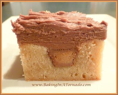 Peanut Butter Cup squares | recipe developed by www.BakingInATornado.com | #recipe #dessert