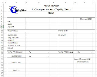 Contoh Format Slip Gaji Karyawan Perusahaan