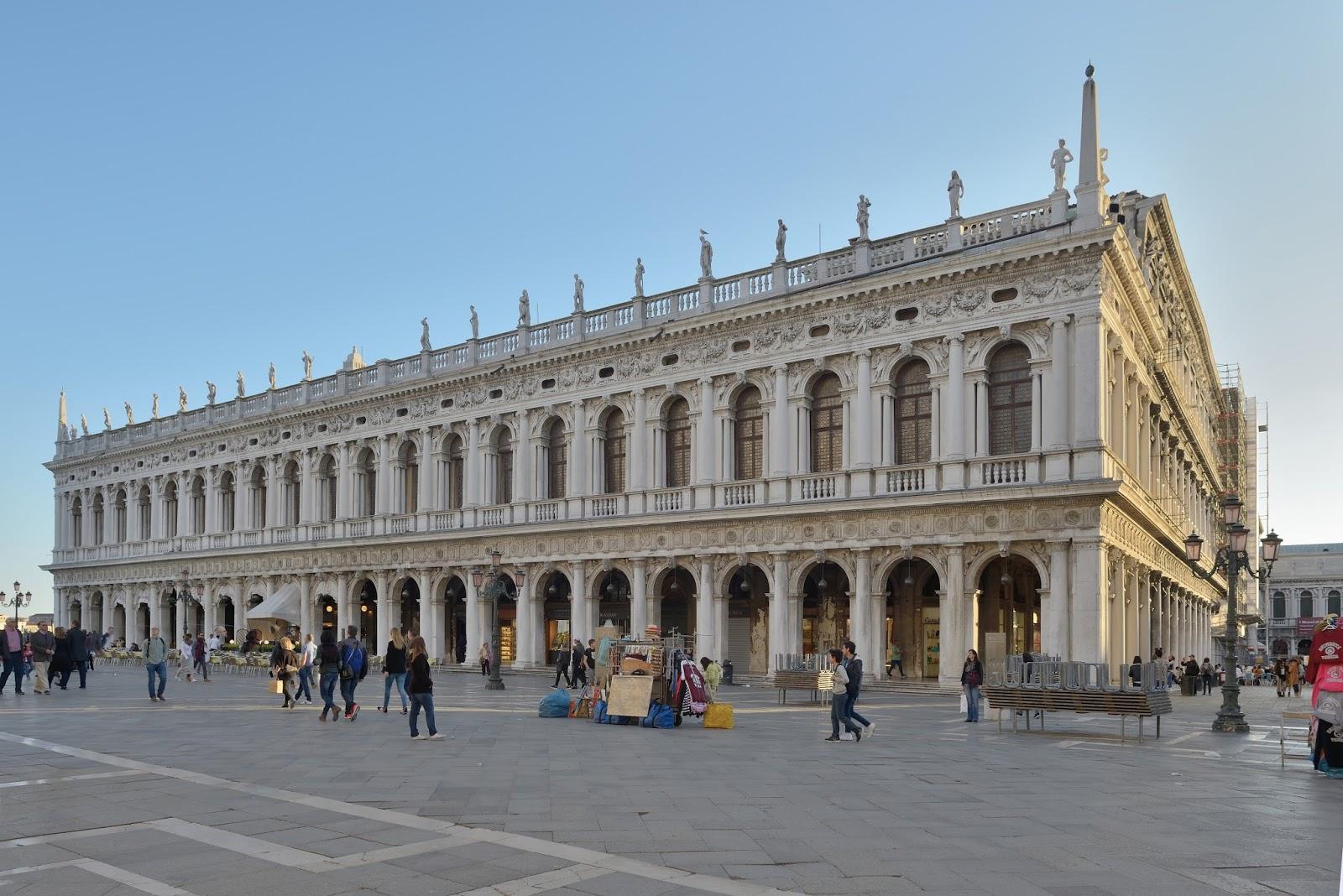 The Libreria Sansoviniana, which houses the Biblioteca Nazionale Marciana, is considered Sansovino's masterpiece