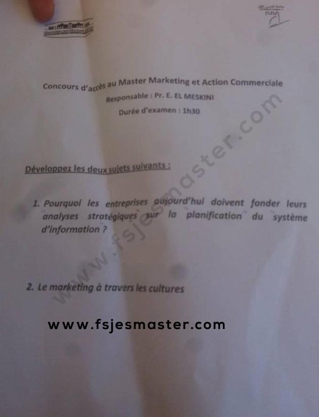 Exemple Concours Master Marketing et Action Commerciales 2019-2020 - Fsjes Settat