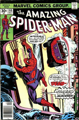 Amazing Spider-Man #160, Spidey slides down a wall as the Spider-Mobile attacks him and the Terrible Tinkerer watches on a monitor