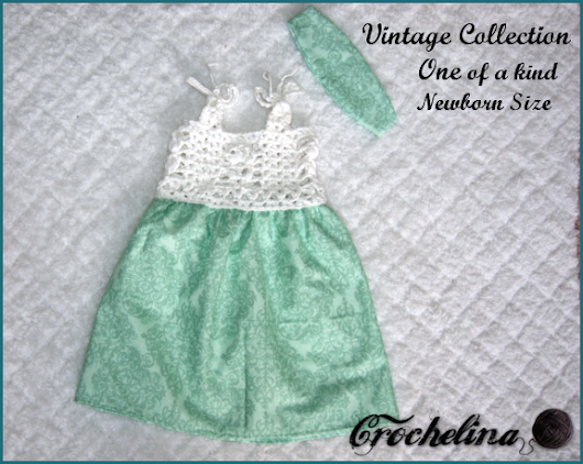 Vintage Collection - Boutique Baby Dress and Headband Crochet/Fabric Set in Store!