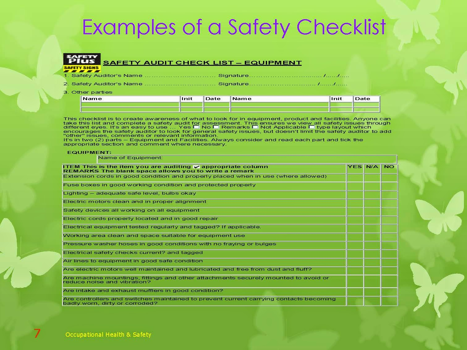 SAFETY CHECKLIST EXAMPLES