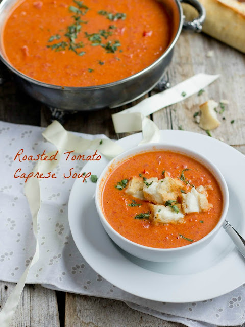 "Roasted Tomato Caprese Basil Soup with Mini Grilled Cheese ""Croutons"""