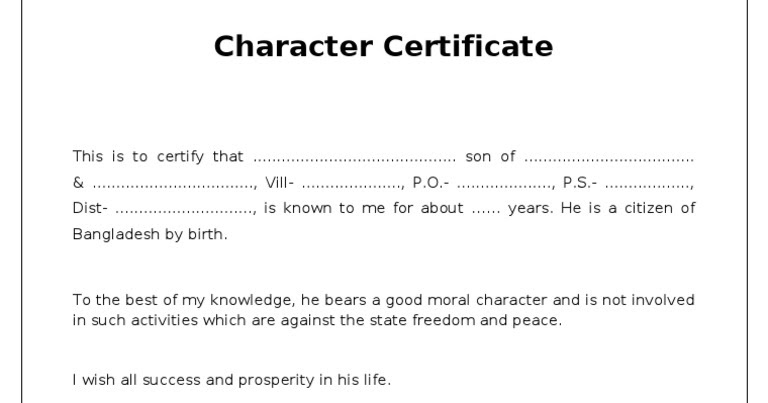 Private School Recommendation Letter: Charitra Praman Patra In Hindi/English Proforma-Character