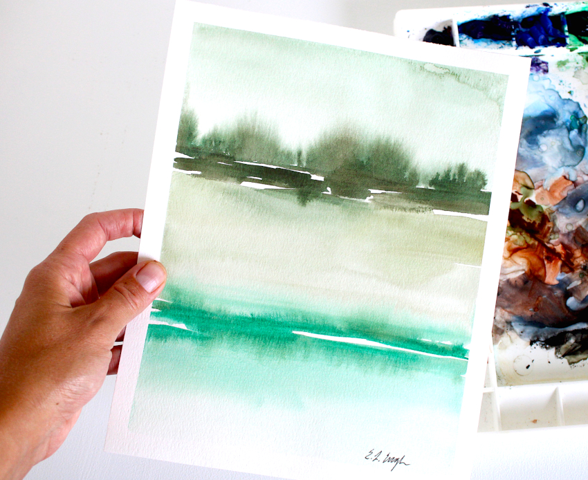 Elise Engh Studios Green Abstract Watercolor Landscapes