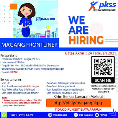 Lowongan Kerja di PKSS Kupang Sebagai Magang Frontliner