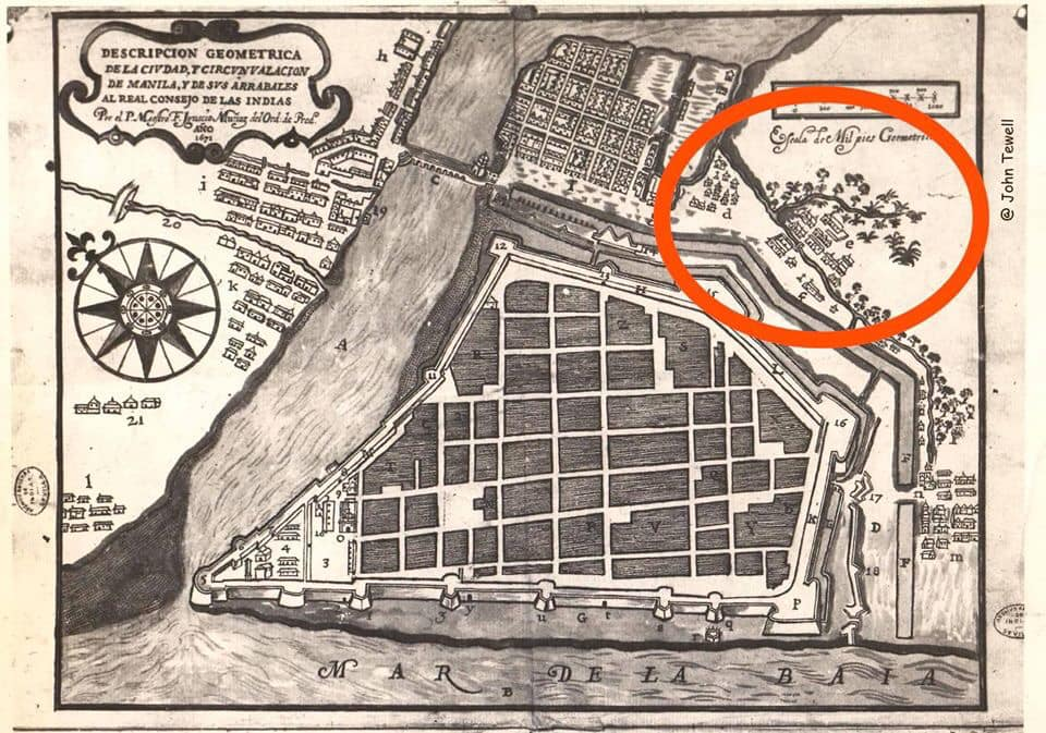 1671 Map of Manila. Encircled is the town of Dilao