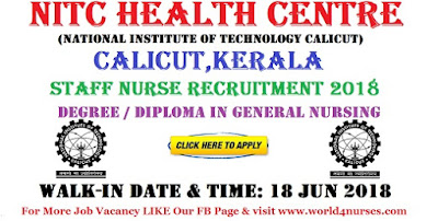 NITC Health Centre Staff Nurse Recruitment 2018- Calicut, Kerala- Apply Today
