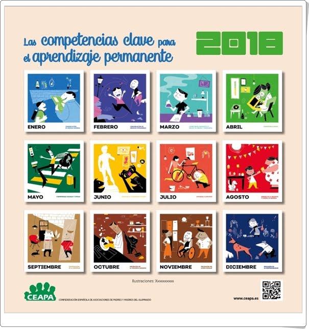 """""""Calendario 2018 de CEAPA"""" (Competencias clave para el aprendizaje permanente)"""