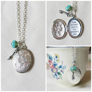 image jane eyre quote locket necklace i am no bird and no net esnares me jewellery jewelry two cheeky monkeys beaded turquoise key charm