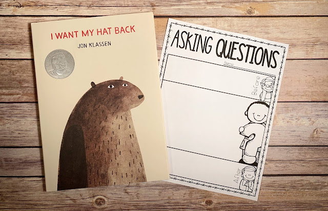 "Mentor text with text ""I Want My Hat Back"" and graphic organizer with text ""Asking Questions"""