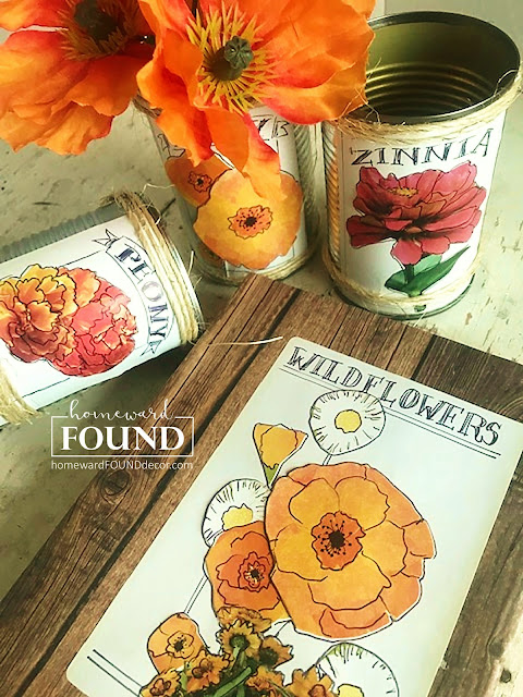art, boho, crafting, decorating, DIY, diy decorating, farmhouse, flowers, found objects, garden art, junk makeover, junking, original designs, paper crafts, Posie Pails, re-purposing, rustic, salvaged, spring, trash to treasure, up-cycling, seed packets, garden seeds