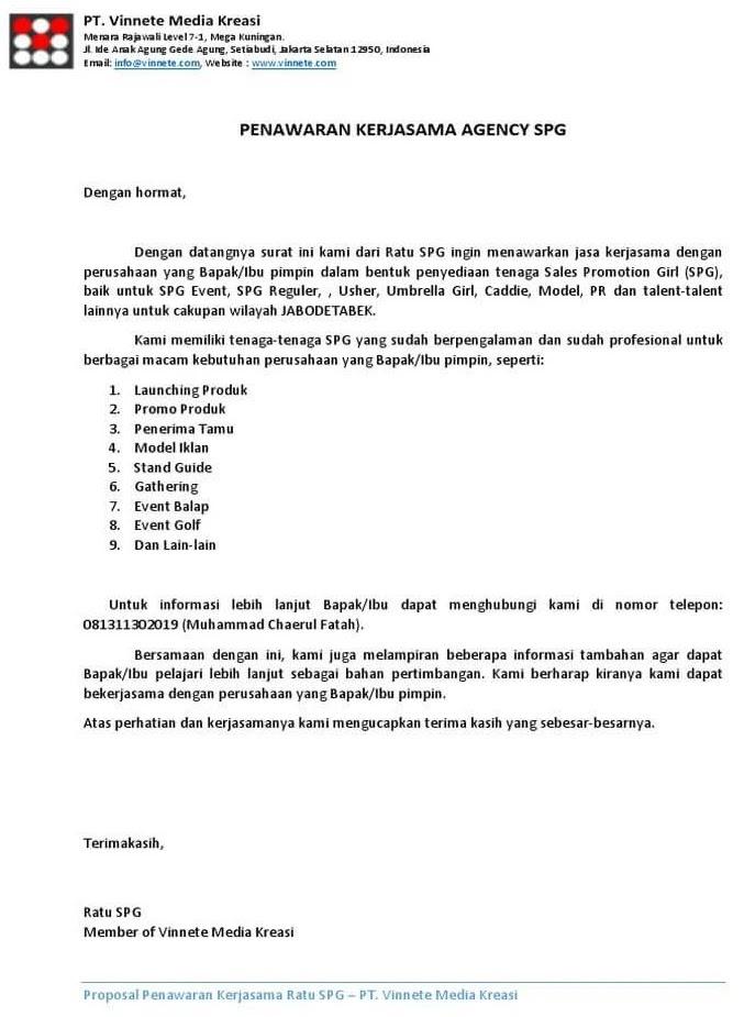 3. Contoh Surat Penawaran Kerjasama Jasa