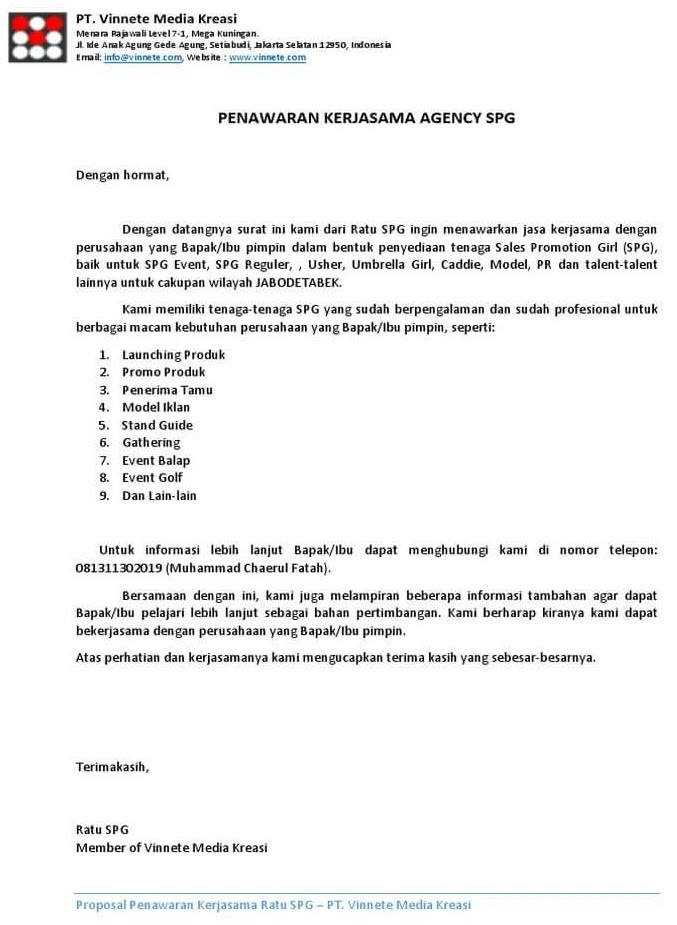 24 Contoh Surat Penawaran Barang Jasa Dan Kerjasama Terupdate