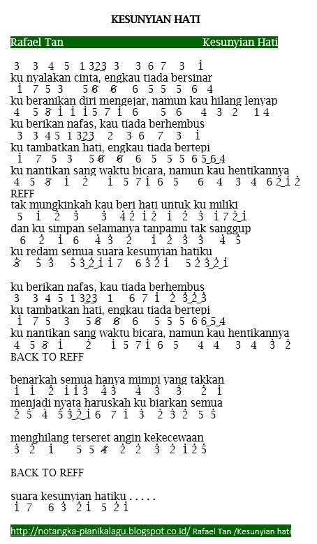Not Angka Pianika lagu Rafael Tan Kesunyian Hati