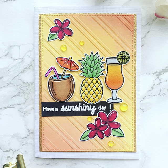 Sunny Studio Stamps: Tropical Paradise Customer Card by Astrid