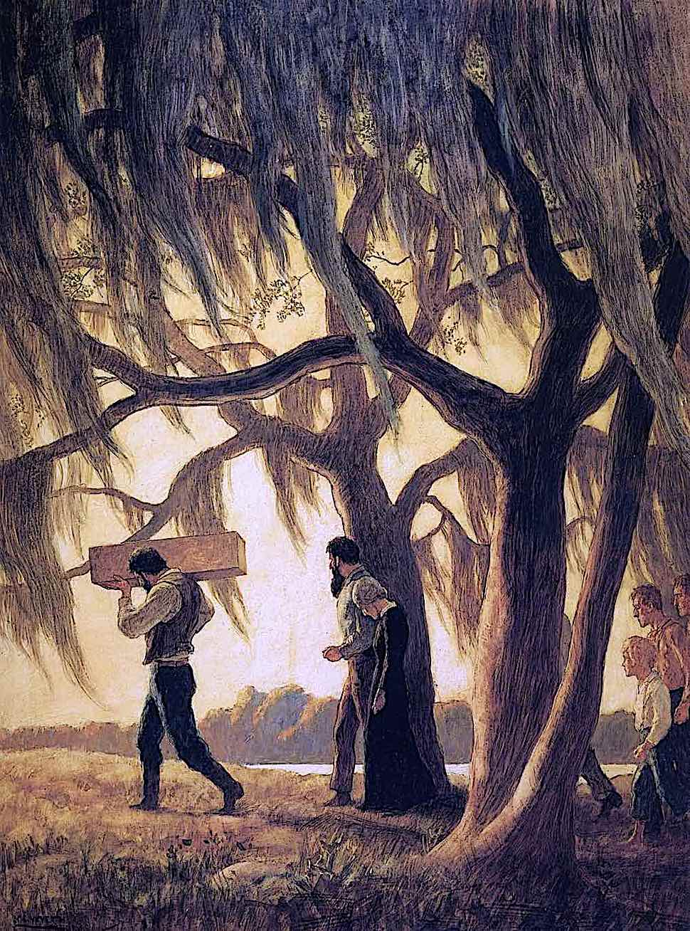 an N.C. Wyeth illustration of a family carrying the casket of a child through mossy trees