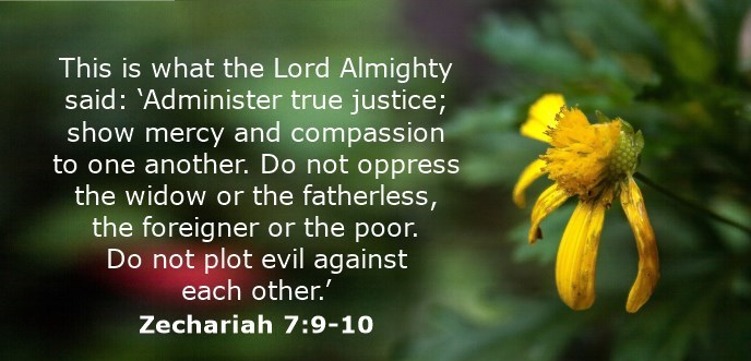This is what the Lord Almighty said: 'Administer true justice; show mercy and compassion to one another. Do not oppress the widow or the fatherless, the foreigner or the poor. Do not plot evil against each other.'
