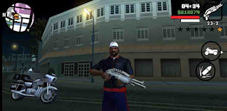 Screenshot showing in game play where Carl is holding a gun in front of a building