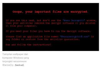 Tampilan tentang virus WannaCry