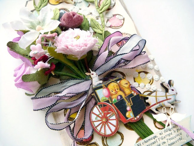 Fabric Flowers and Easter Chipboard Embellishments on a Spring Tag by Dana Tatar