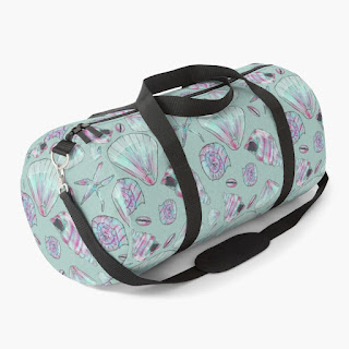 Seashell Patterned Duffle Bag in Aqua, Pink, White, and Turquoise,