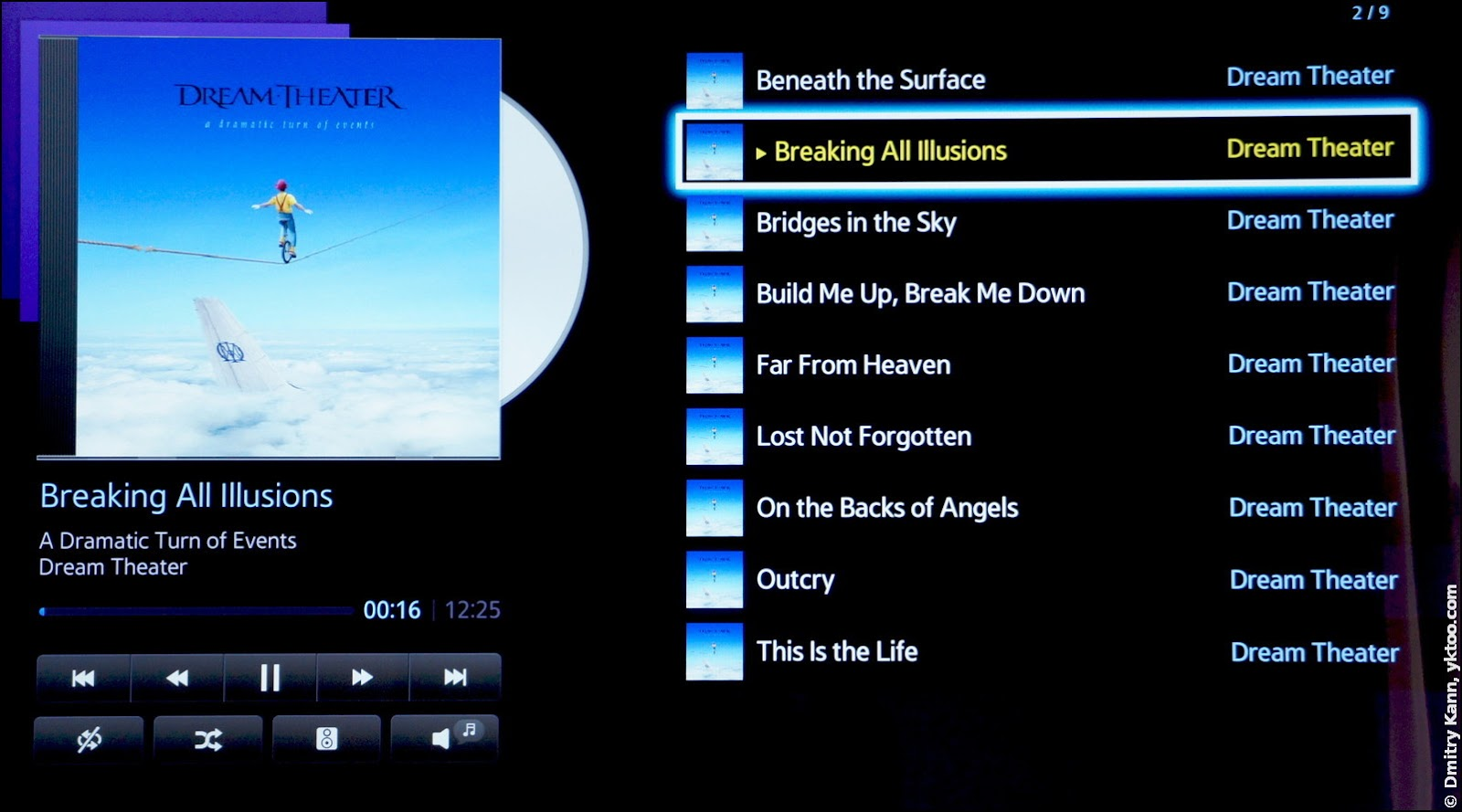 The built-in audio player.