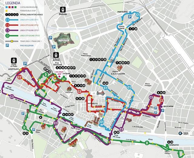 Mapa das linhas de ônibus que passam pelo centro de Florença