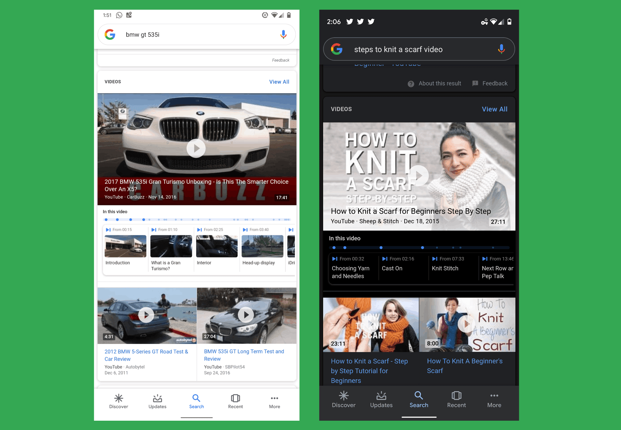 Google mobile app shows 'in this video' bookmarks for YouTube videos search results