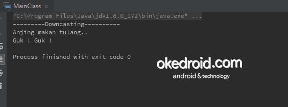 Output Hasil Contoh Code Downcasting tipe data kelas objek pada java