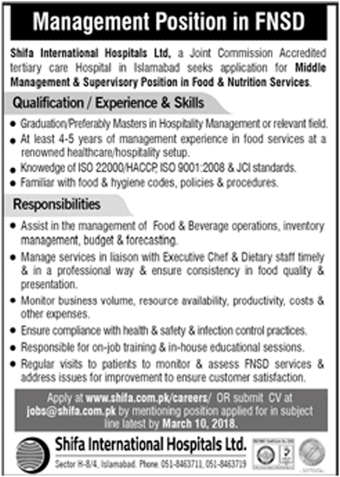 Jobs In Shifa International Hospital 2018 for Management Position