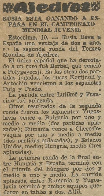 III Campeonato Mundial Universitario de Ajedrez - Uppsala 1956 en un recorte de prensa