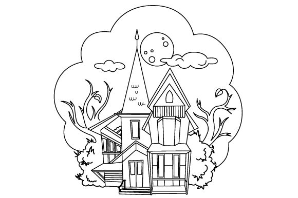 Haunted House Coloring Page Craft Design
