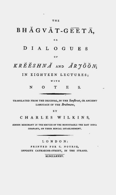 Carles Wilkins Translation of Bhagavad Gita