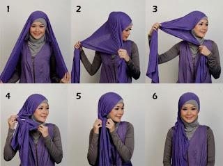 cara memakai kerudung simple