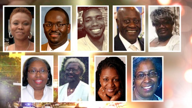 9 members of Emanuel African Methodist Episcopal Church killed June 17, 2015. Photo from christianpost.com site (no credit given there).
