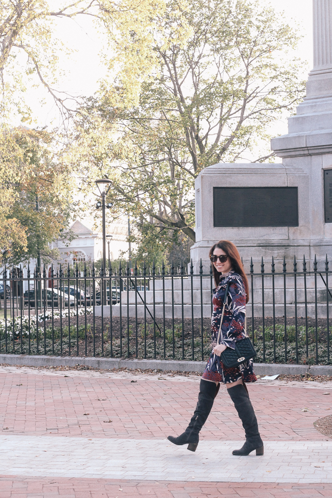 Boston Life & Style Blogger, The Northern Magnolia, is featuring a fall floral mock neck dress and over-the-knee boots.