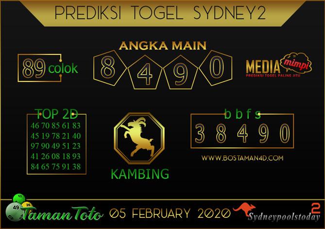 Prediksi Togel SYDNEY 2 TAMAN TOTO 05 FEBRUARY 2020