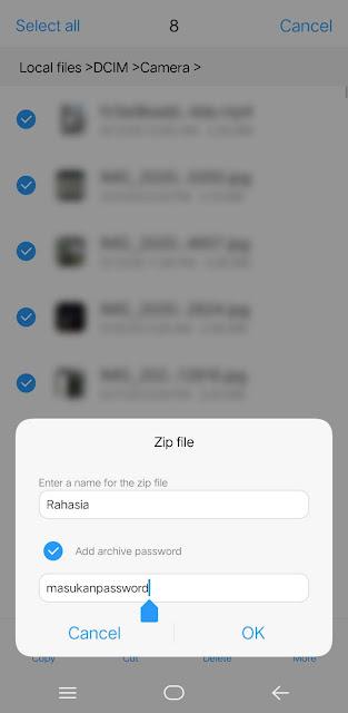 Compress, kemudian masukan nama & password untuk file zip kamu lalu OK dan tunggu sampai prosesnya selesai