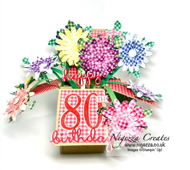 Nigezza Creates With Stampin' Up! Exploding Box 80th Birthday Card using Daisy Punch